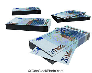 20 Euro banknotes - Groups of euro banknotes isolated over a...