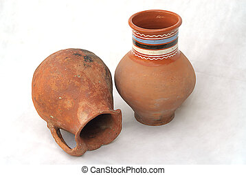 earthenware - two ancient earthenware hand made