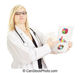 Medical doctor with statistics about medicaments