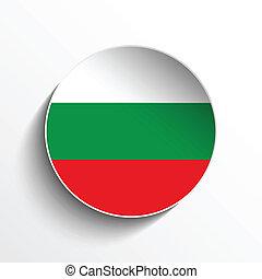 Bulgaria Flag Paper Circle Shadow Button
