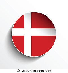 Denmark Flag Paper Circle Shadow Button - Vector - Flag...