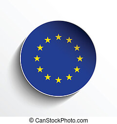 Europe Flag Paper Circle Shadow Button - Vector - Europe...