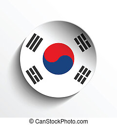 South Korea Flag Paper Circle Shadow Button - Vector - Flag...