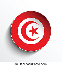 Tunisia Flag Paper Circle Shadow Button - Vector - Flag...