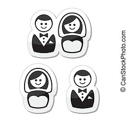 Married groom and bride labels - Wedding icons set -...