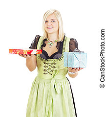Young woman with two colorful gifts