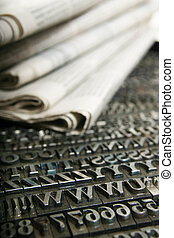 daily newspaper and movable type - Typography workshop Old...