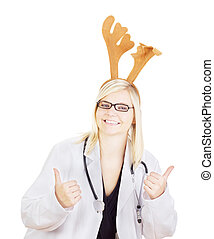 Medical doctor with a deer head