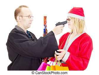Layer hold santa claus at gunpoint
