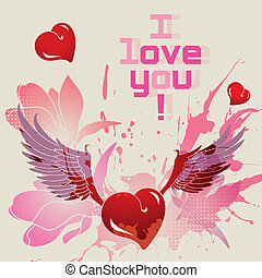 I love you vector card - I love you, vector romantic card
