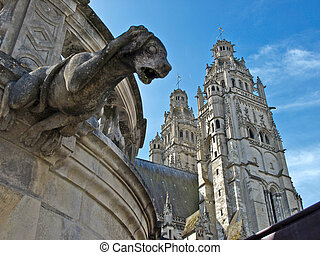 Tours Cathedral with daze gargoyle - Tours Cathedral,...