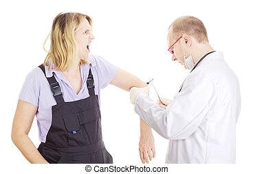 Medical doctor examines patient