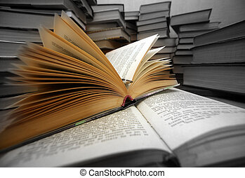 Knowledge - light - Many old books combined by a heap
