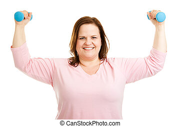 Healthy Plus Size Woman Works Out - Beautiful, healthy...