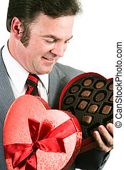 Man Gets Chocolate for Valentines Day