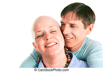 Fighting Cancer Together - Female cancer survivor posing...