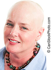 Portrait of Cancer Survivor - Closeup portrait of beautiful...