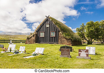 Old wooden Vidimyri Church - Iceland.
