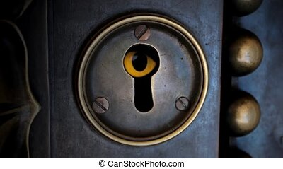 eye in a keyhole - eyed is peeking through the locked door