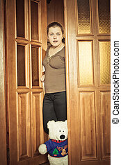 Girl Opening Door - Beautiful Girl And Your Toy Bear Peeking...