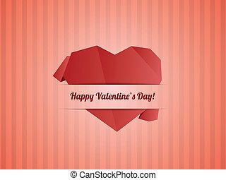 Paper Heart - Valentines day card vector