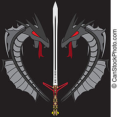 grey dragons and sword