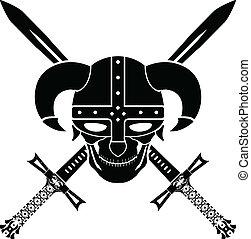 helmet and swords