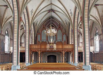 el, interior, católico, iglesia