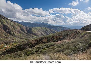 View of San Bernadino Rim of World Highway - View down...