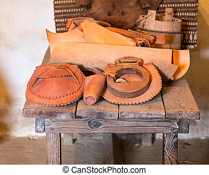 Hand made hats in spanish mission - Hand crafted leather...