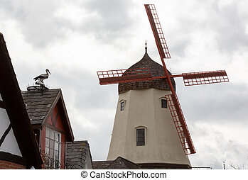 Faux windmill in Solvang CA - Detail on old windmill with...