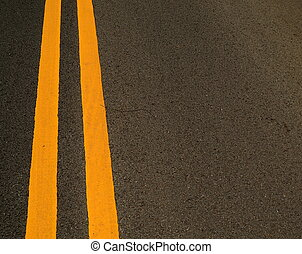Road Markings - Double Yellow Marking Lines On A Road With...