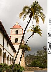Cloudy stormy day at Santa Barbara Mission