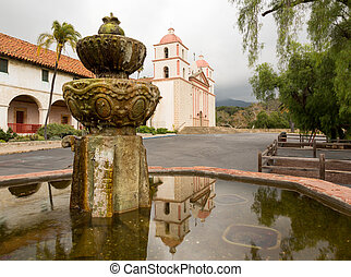 Cloudy stormy day at Santa Barbara Mission