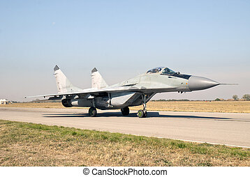 Mig 29 preparing for flight - Fighter plane in action