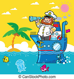 Cartoon captain - ship, sea, palm, captain, man, binoculars,...