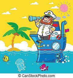Cartoon captain - ship, sea, palm, captain, man, binoculars,...