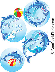 Dolphins play ball - The illustration shows a few dolphins...