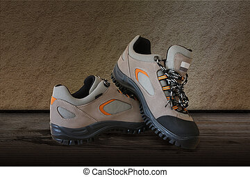 All terrain pair shoes over the wooden floor