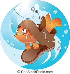 Funny fishing - The illustration shows a funny fish that...
