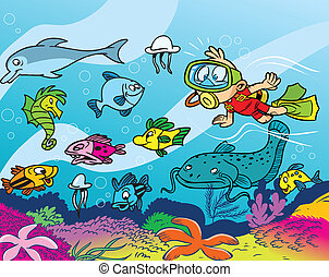 underwater world - The boy is engaged diving.He dives to the...
