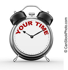Your time - 3d people - man, person with a alarm clock. Your...
