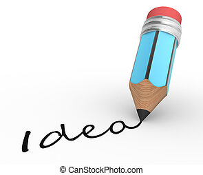 "Pencil - A pencil and "" idea "" word. 3d render"