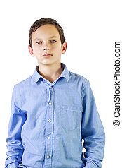 Real people - Preteen boy portrait over white background