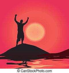 Victory At Sunset - A silhouette of a man by some water with...