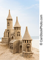 Sandcastle - Grand sandcastle on the beach during a summer...