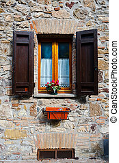 Open Shutters - Italian Window with Open Wooden Shutters