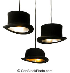 hat lamps - lamps made from topper hats isolated on white...