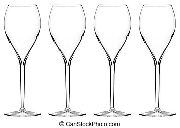 wine glasses - many tall wine glasses isolated on white...