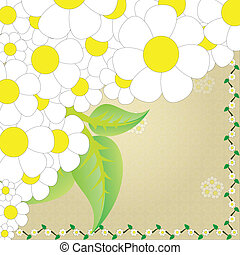 Camomile frame - Chamomile with leaves. Vector background.
